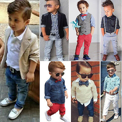 Toddler Kid Baby Boy T Shirt Coat Pants Outfits Set Gentleman Formal Blazer Suit