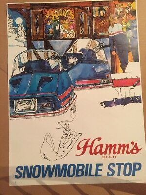 Nice Clean Vintage Theo HAMM'S BEER ADVERTISING SIGN Snowmobile Stop Poster