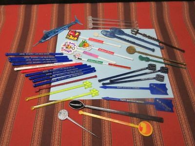 Vintage Swizzle Sticks & Stirrers - Lot Of 35 - Plastic - Hotels & Bars