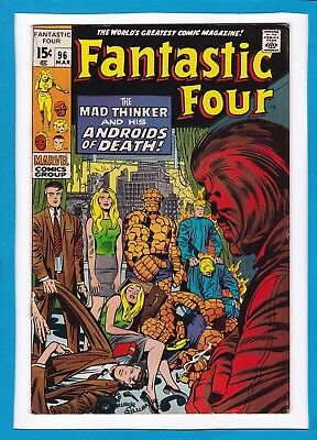 "Fantastic Four #96_Mar 1970_Vf Minus_""the Mad Thinker & His Androids Of Death""!"