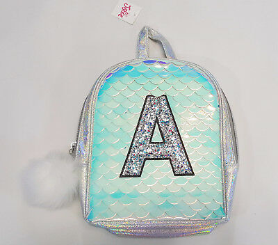 "NWT Justice Girls Mini Mermaid Backpack Initial ""A"" Name Purse School Preschool"