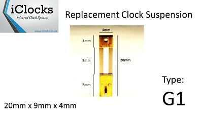 Brass French Clock Pendulum Suspension Spring. (20mm x 9mm x 4mm) (Type G1)