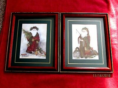 SET OF 2 Home Interior  Old World Santa Claus Picture Framed & Matted