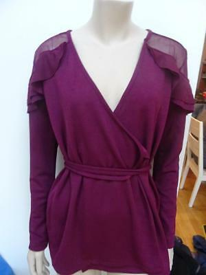 V BY VERY ladies dark berry colour wrap front frill detail top UK 10 EXCELLENT