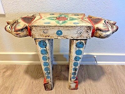 Two-Headed Cat Wood Table/Stand Handmade Hand Painted Folk Art