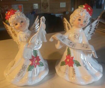 2 Vintage Lefton Christmas Angels #1889 Musical Music Box!
