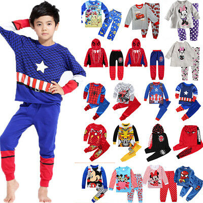 Spiderman Mickey Minnie Kids Toddler Baby Boys Girls Nightwear Pajamas Pjs Sets