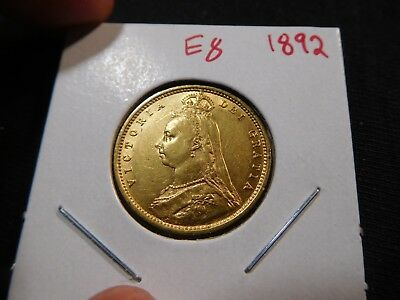 E8 Great Britain 1892 GOLD 1/2 Sovereign