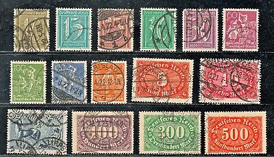 Germany 138//160 1921 Pretty Lot Of 15 Different Wmk 125 Old Used Stamps