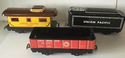 3 Vintage Marx Union Pacific Seaboard Model Train Cars Tin 91257  3824 & Tender