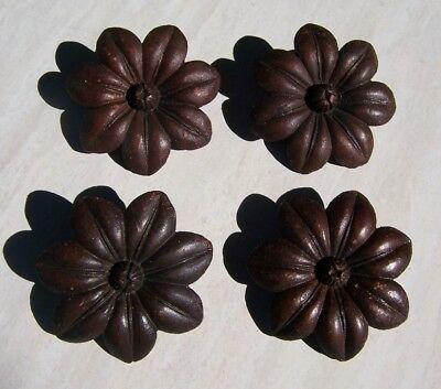 4 Victorian Architectural Carved Wood FLOWER Rosette Molding Medallions Walnut