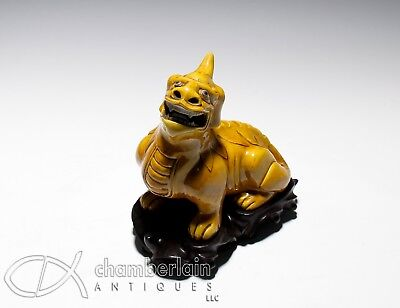 Old Chinese Yellow Glazed Porcelain Statue Of Seated Creature With Stand