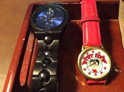 Lot of 6 Watches,Betty Boop,Donald Duck,Edward Lynn ,Fossil,Geneva,Georges