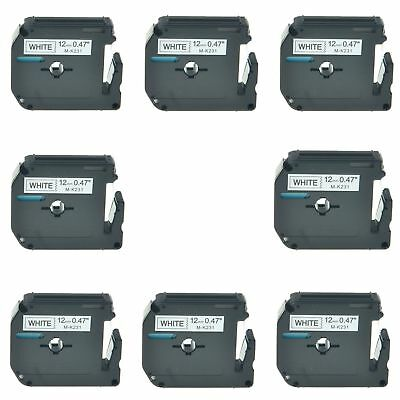 8PK M-K231 MK231 Black On White Label Tape For Brother P-Touch PT-55S 12mm x 8m