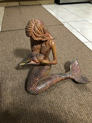 "MERMAID W/ SEA SHELL STATUE Resin NAUTICAL BEACH Ocean 13"" Tall X 7"" GOLD BRUSH"