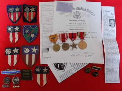 Wwii Us Army Merrill's Marauders Cbi Group W/ Medals & Theater Made Patches ++