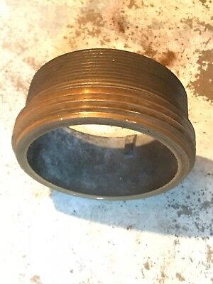 """Brass 5"""" NH to 5"""" NPT Double Male fire hose adapter"""