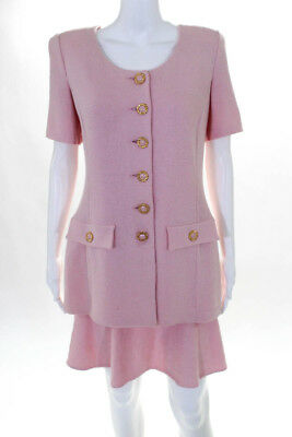 St. John Collection By Marie Gray Womens Six Button Skirt Suit Pink Size 8