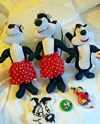 Pepe Le Pew Lot: Plush, Christmas Pin, Necklace, Needlepoint