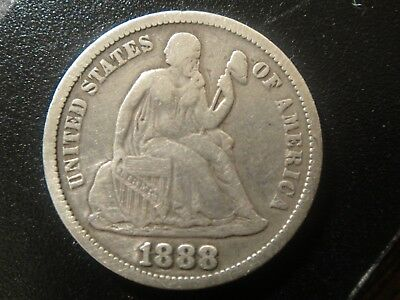 1888 United States Seated Liberty Dime. Very Fine Details (cleaned).