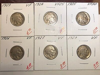 1923, 1924, 1925, 1926, 1927, 1929 U.S. Buffalo Nickels (VF/VF+)