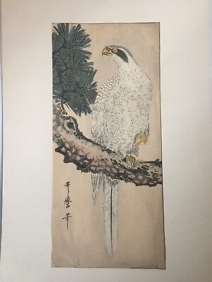 Antique Japanese Woodblock Print Signed Utamaro of Falcon on Branch