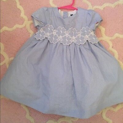 Janie & Jack Light Blue Baby Blue Striped Dress, Size 18-24 months, 18-24 mo.