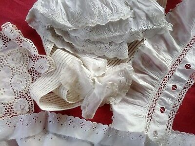 6 French Antique Lace heavily embroidered Val Trim lot  collar Victorian