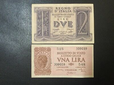 1939-1944 Italy Paper Money - 1 & 2 Lire Banknotes!