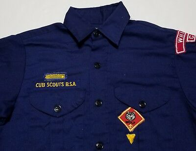 Vintage 1960-70s Cub Scouts BSA Whittier 387 Wolf Patches Boys Large Shirt