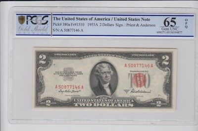 Red Seal $2 1953-A PCGS Gold Shield graded Gem new 65 OPQ