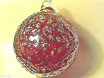 """Hanging Glass Ball 4"""" Diameter Ruby Red Crackle (1) HB6-1"""