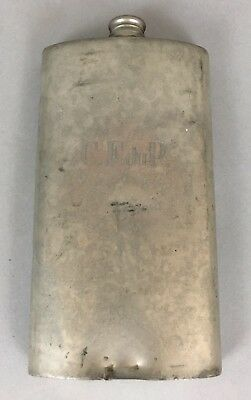 Antique English Pewter Flask Sheffield Silver 12oz Monogrammed C.F. duP DuPont