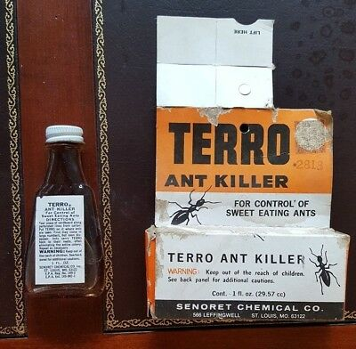 VINTAGE Terro Ant Killer, glass bottle, metal cap, ORIGINAL Box Senoret Chemical