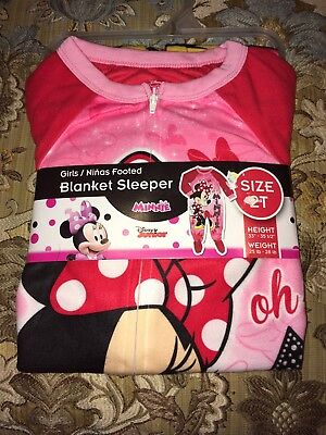 Brand New Disney Minnie Mouse Pink/Red Footed Blanket Sleeper/Pajamas (2T)