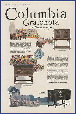 Vintage 1918 COLUMBIA GRAFONOLA Phonograph Period Designs Art Decor Print Ad