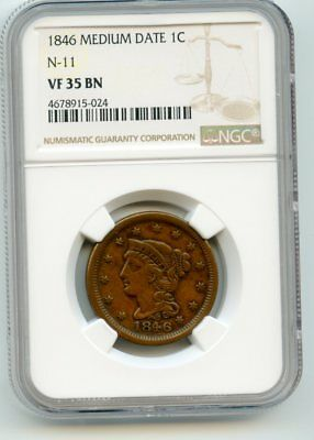 1846 Medium Date Braided Hair Large Cent N-11, (VF 35 BN) NGC Certified.