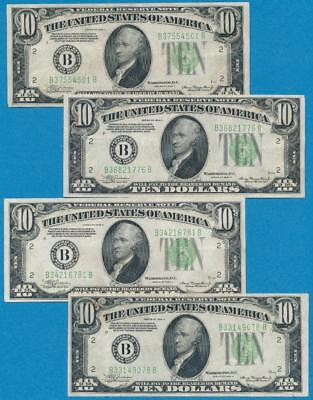4-$10. 1934-A Ny Green Seal Federal Reserve Notes Lightly Circulated Dealers Lot