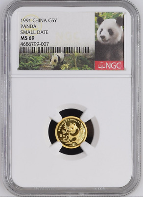 1991 China 5 Yuan Small Date Gold Panda Coin NGC/NCS MS69 Conserved!! Red Label