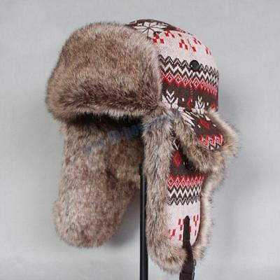 Men Women Winter Fox Fur Russian Ushanka Cossack Cap Trapper Aviator Ski Hat New
