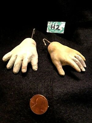 "Antique Pair LARGE COMPOSITION DOLL HANDS 2 1/4""French/German Doll Body-Parts H2"