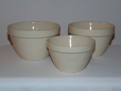 3 Vintage English  T G Green Church Gresley White Ironstone Pottery Mixing Bowls