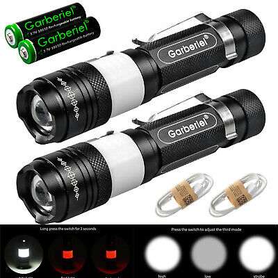 2x 30000Lumens Military 5Modes USB Rechargeable Zoomable 18650 Flashlight +Cable