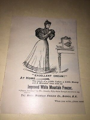 Vintage White Mountain Ice Cream Maker Ad, Nashua,n.h..
