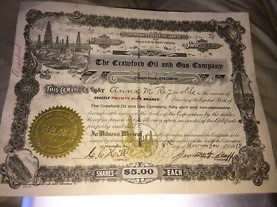 1919 Crawford Oil & Gas Company Capitol Stock Certificate