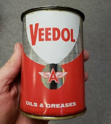 NEAR MINT 1950s Vintage VEEDOL Old 1 lb. Grease Can Tidewater Oil One Pound Tin