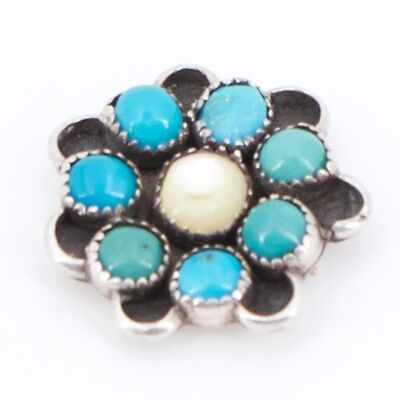VTG Sterling Silver NAVAJO Turquoise Mother of Pearl Flower Jewelry Piece - 2.4g