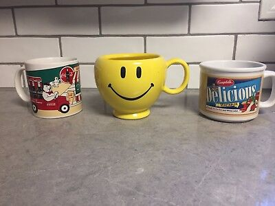 Mixed Lot of Coffee Mugs - Coca Cola - Campbell's Soup - Smiley Face