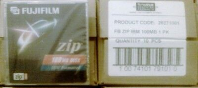 FUJIFILM 25271001 FB Zip Disk IBM 100MB BOX LOT OF 10 Pack NEW