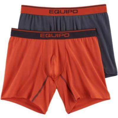 NWT Men's Equipo 2-Pack Solid Mesh Performance Boxer Brief Orange/Gray Large